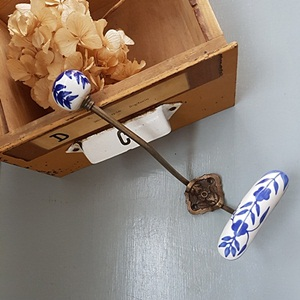 Hand Painted Porcelain hook-Blue floral