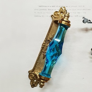 Crystal gold plate handle-Blue