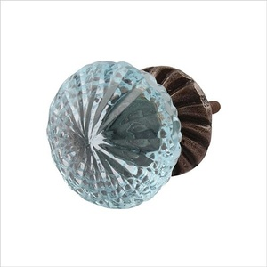 Glass Knob-Plate Light Blue