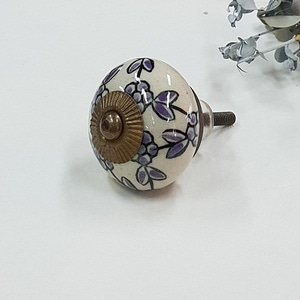 Hand Painted Ceramic knob-purple floral