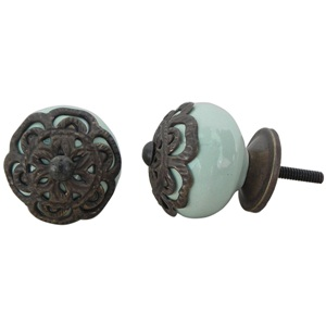 Ceramic knob-antique green