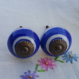 Hand Painted Ceramic knob-Blue band stripe