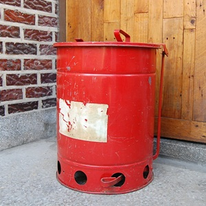 Vintage Red Trash Can #BL